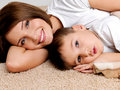 Portrait happy smiling  mother and the child Royalty Free Stock Photography