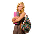 Portrait of happy smiling teenage schoolgirl Royalty Free Stock Photo