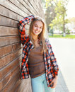 Portrait of happy smiling young woman wearing a casual clothes Royalty Free Stock Photo
