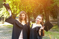 Portrait of happy students in graduation gowns Royalty Free Stock Photo