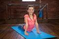 Portrait of happy teenage girl practicing yoga Royalty Free Stock Photo
