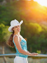 Portrait of happy woman enjoying vacation Royalty Free Stock Photo