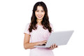 Portrait of happy woman holding laptop Royalty Free Stock Photo