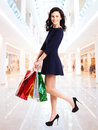 Portrait of happy woman with shopping bags. Royalty Free Stock Photography