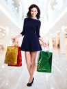 Portrait of happy woman with shopping bags. Royalty Free Stock Photos