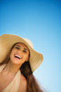 Portrait of happy woman on vacation Stock Image