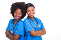 Portrait happy young african american nurses Stock Photos