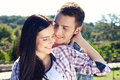 Portrait of happy young couple looking at each other. Royalty Free Stock Photo