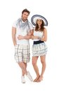 Portrait of happy young couple in summer outfit Stock Images