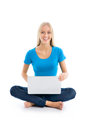 Portrait of a happy young girl with laptop computer isolated over white background Stock Photography