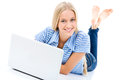 Portrait of a happy young girl with laptop computer Royalty Free Stock Photo