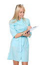 Portrait of the happy young nurse of filling paper Stock Photos