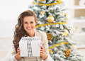 Portrait of happy young woman with christmas present box in living room Stock Image