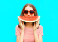 portrait happy young woman is holding slice of watermelon Royalty Free Stock Photo