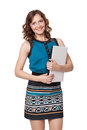 Portrait happy young woman posing laptop against white background Stock Photos