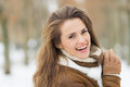 Portrait of happy young woman in winter outdoors Royalty Free Stock Photography