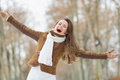 Portrait of happy young woman in winter outdoors Royalty Free Stock Photos