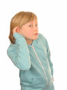 Hard of hearing girl Royalty Free Stock Photo