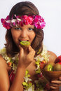 Portrait of a Hawaiian girl with flower lei Royalty Free Stock Photo