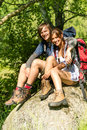 Portrait of hikers young couple outdoors sunny day Royalty Free Stock Images