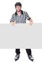 Portrait of hockey judge presenting empty banner Royalty Free Stock Photos