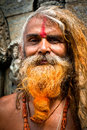 Portrait of Holy Sadhu man Stock Photo