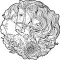 Portrait of a horse with clouds and flowers. Royalty Free Stock Photo