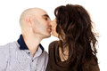 Portrait of a husband and wife kiss isolated Royalty Free Stock Photo