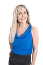 Portrait of isolated attractive smiling mature woman over white background Royalty Free Stock Photo