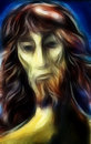 Portrait jesus christ mixed media Royalty Free Stock Image