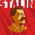 Portrait of Joseph Stalin. Poster stylized Soviet-style. The leader of the USSR. Russian revolutionary symbol
