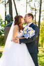 Portrait of just married couple kissing in park at sunny day closeup Royalty Free Stock Photo