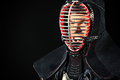 Portrait of kendo close up fighter asian martial arts Royalty Free Stock Image