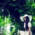 Portrait of a lady in a tropical forest Stock Photos