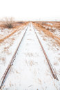 Portrait Landscape of Snowy Tracks Royalty Free Stock Photo