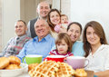 Portrait of large happy multigeneration family having tea at home Royalty Free Stock Photos