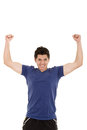 Portrait of a latin young man with his hands celebrating this image has attached release Stock Photo