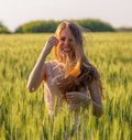 Portrait of a laughing girl with matted hair Royalty Free Stock Photo