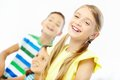Portrait of laughing girl with two classmates at background Royalty Free Stock Photos