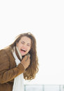 Portrait of laughing woman in winter outdoors Stock Photo