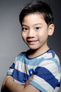 Portrait of little asian cute boy on gray background Stock Photos