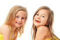 Portrait of little ballet dancers cute girls ballerinas smiling Royalty Free Stock Photo