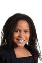Portrait little black girl smiling isolated Stock Photos