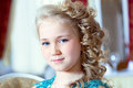 Portrait of little blue eyed girl with ringlets close up Royalty Free Stock Photos