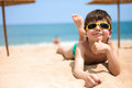 Portrait of little boy on the beach close up Stock Photography