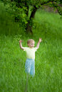 Portrait of little boy on meadow Royalty Free Stock Image