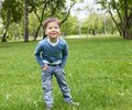 Portrait of a little boy outdoors Stock Image