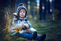 Portrait of little boy outdoors on cold day Royalty Free Stock Photo
