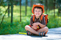 Portrait of a little boy in summer forest Royalty Free Stock Photos