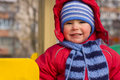 Portrait of little boy the two years in winter Royalty Free Stock Photo